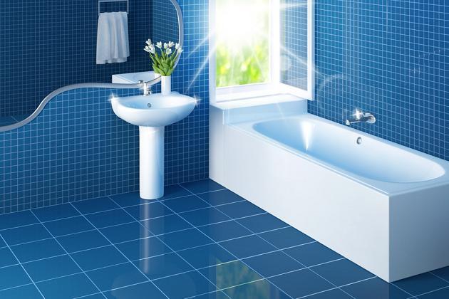 Mẫu nhà vệ sinh đẹp với gạch màu xanh nước biển